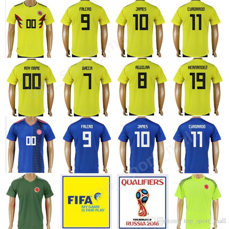 new product 36429 5ee8c Colombia Soccer 10 James Rodriguez Jersey 2018 World Cup Yellow Team 9  Radamel Falcao 11 Juan Cuadrado Player Version Football Shirt Uniform