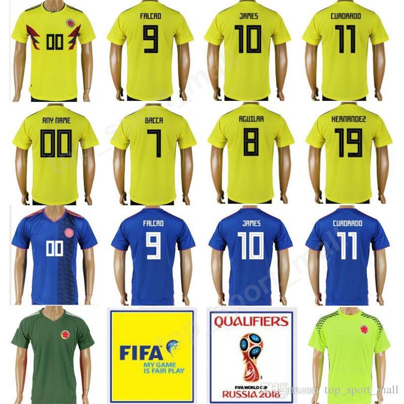 new product 472c2 61b06 Colombia Soccer 10 James Rodriguez Jersey 2018 World Cup Yellow Team 9  Radamel Falcao 11 Juan Cuadrado Player Version Football Shirt Uniform