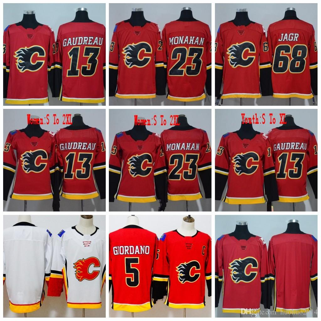 best loved 0a4fc aa536 #68 Jaromir Jagr Jerseys Calgary Flames men Women Youth 2018 13 Johnny  Gaudreau 23 Sean Monahan 5 Mark Giordano Hockey Jerseys All Stiched