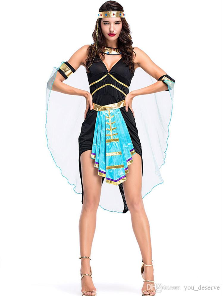 2018 new egyptian goddess costumes sexy blue belt women dresses cosplay halloween costume party fancy ball clothing hot selling funny costume themes 4