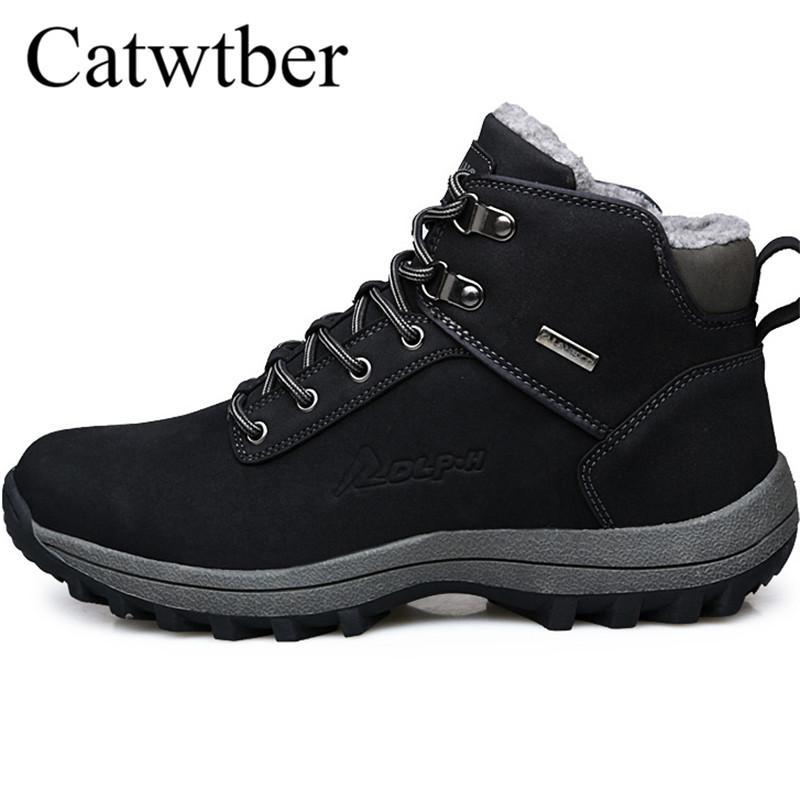 official photos 772ac dc1d6 Catwtber Winter Herren Stiefel Männer Schuhe Casual Fahsion Schnee Outdoor  Stiefeletten Männer Leder Mit Pelz Warme Plüsch Schuhe Turnschuhe