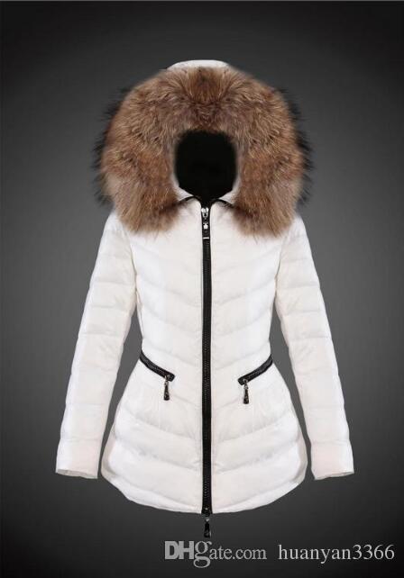 Abrigo de invierno Francia lujo de las mujeres prendas de vestir exteriores delgada 90% de ganso blanco abajo cubre collar del soporte de la chaqueta delgada ocasional Parkas sólido en línea E758