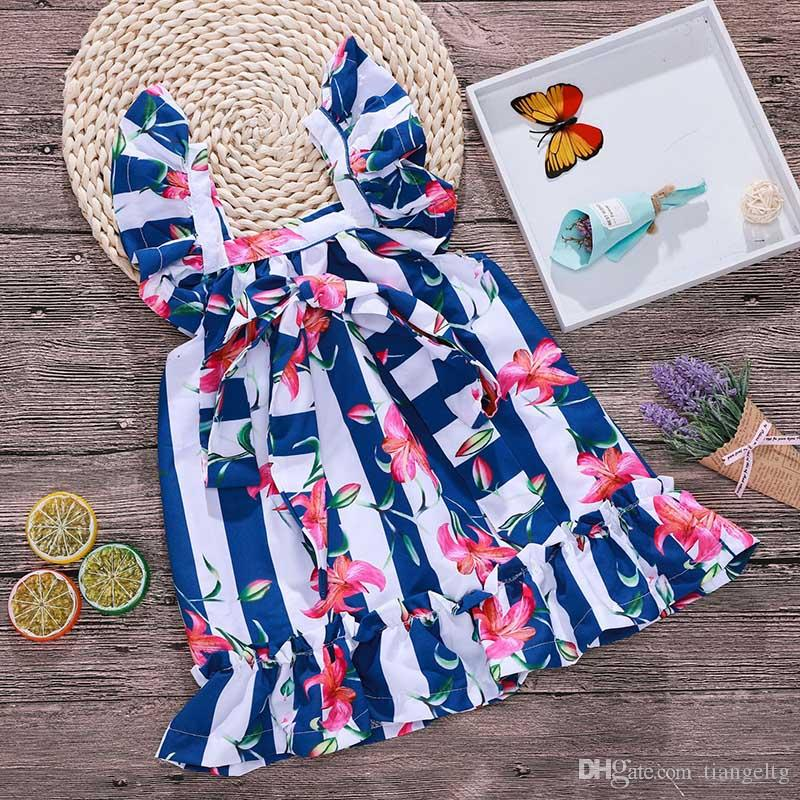 357ef4369d2 New Girls Striped Dress Adjustable Waist Square Collar Bow Floral Dresses  Wide Blue And White Stripes Girls Outfit for Summer 1-6T Girls Square  Collar Dress ...