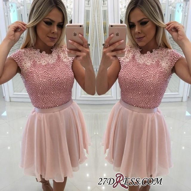 Cute Pink Short Homecoming Dresses Cheap A-Line Chiffon Cap Sleeves Appliques Pearls Mini Cocktail Prom Gowns