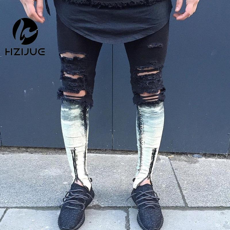 66a867c5fbbd 2019 Knee Hole Ripped Black Mens Joggers Hip Hop Skinny Jeans Men Slim Fit  Pants 2016 Side Zipper Pants For Male Goggers From Seein