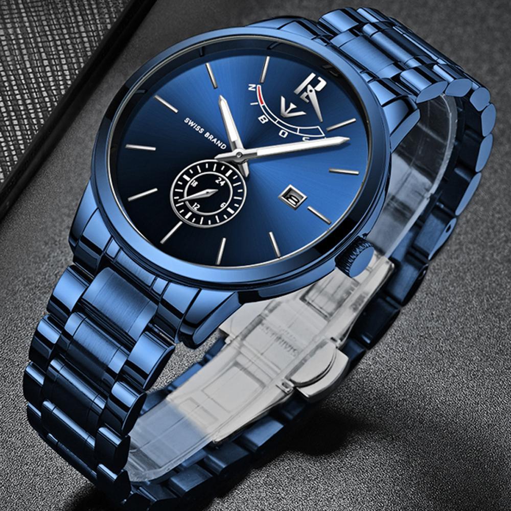 65b0d557c85 Compre Nibosi Relógio Dos Homens Moda Esporte Relógio De Quartzo Mens Relógios  Top Marca De Luxo De Aço Completo À Prova D  água Relógio Azul Relogio ...