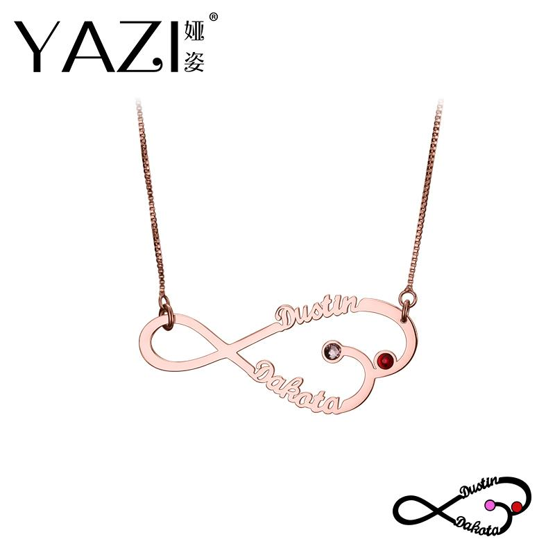 c53aa7fb71a0c YAZI Trendy Infinity Name Necklace Engraved Gold Color Copper Personalized  Nameplate Pendant Handmade Custom Jewelry For Couple