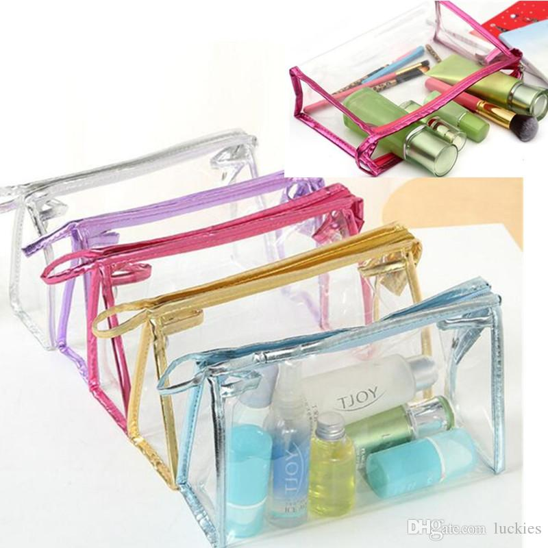 Fashion cosmetic bag cosmetic cases makeup bags lady wash gargle bag transparent PVC travel waterproof bags sorting bags