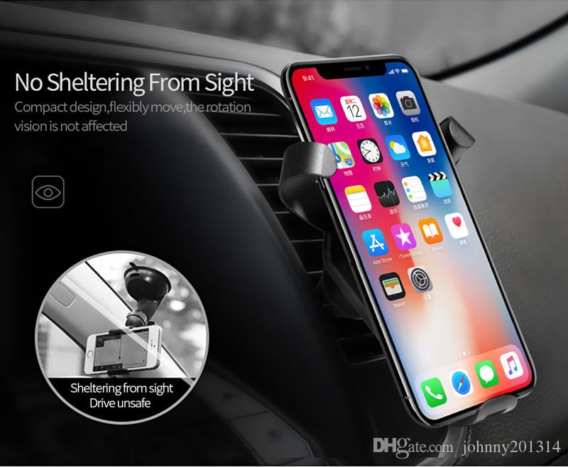2018 Fast Qi Wireless Charger Car Mount Phone Holder Gravity Reaction for iPhone 8 Plus X Samsung Galaxy S6 S7 S8 Plus