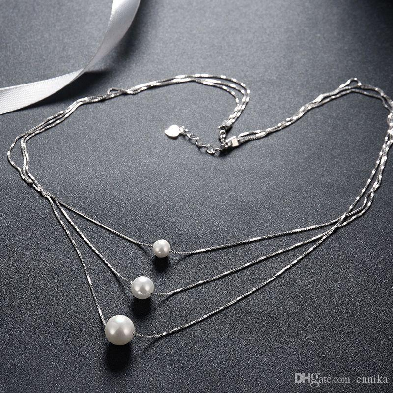 Sterling Silver 925 Necklace Lady Party Jewelry Pure Silver Three Beads Pearl Pendant Necklace n103