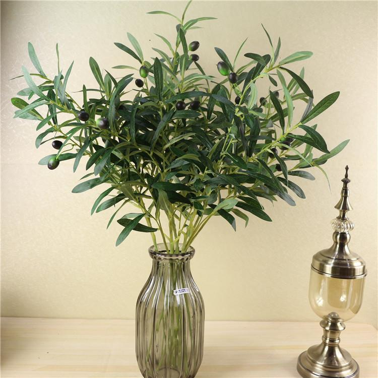 2018 Artificial Olive Tree Branches With Fruit Leaves European Faux
