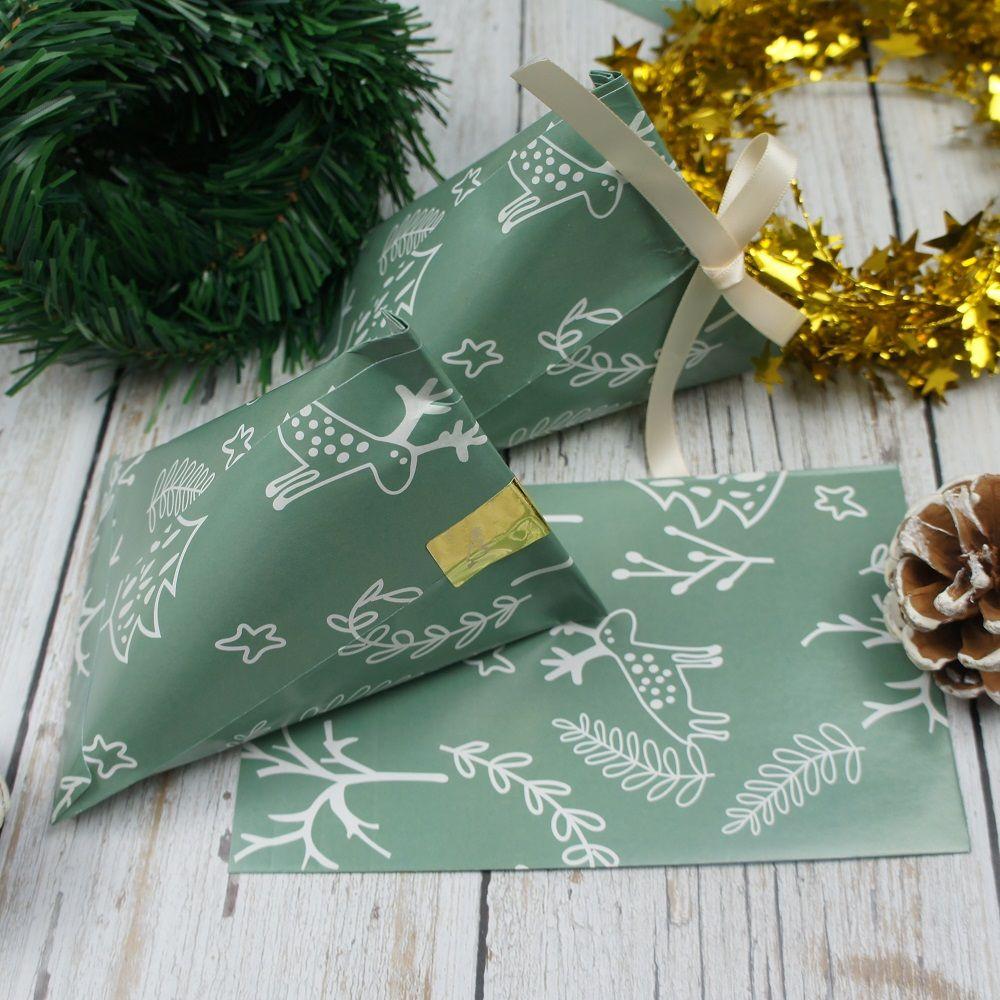 Großhandel 50 Stücke Weihnachten Grün Elch Thema Papier ...