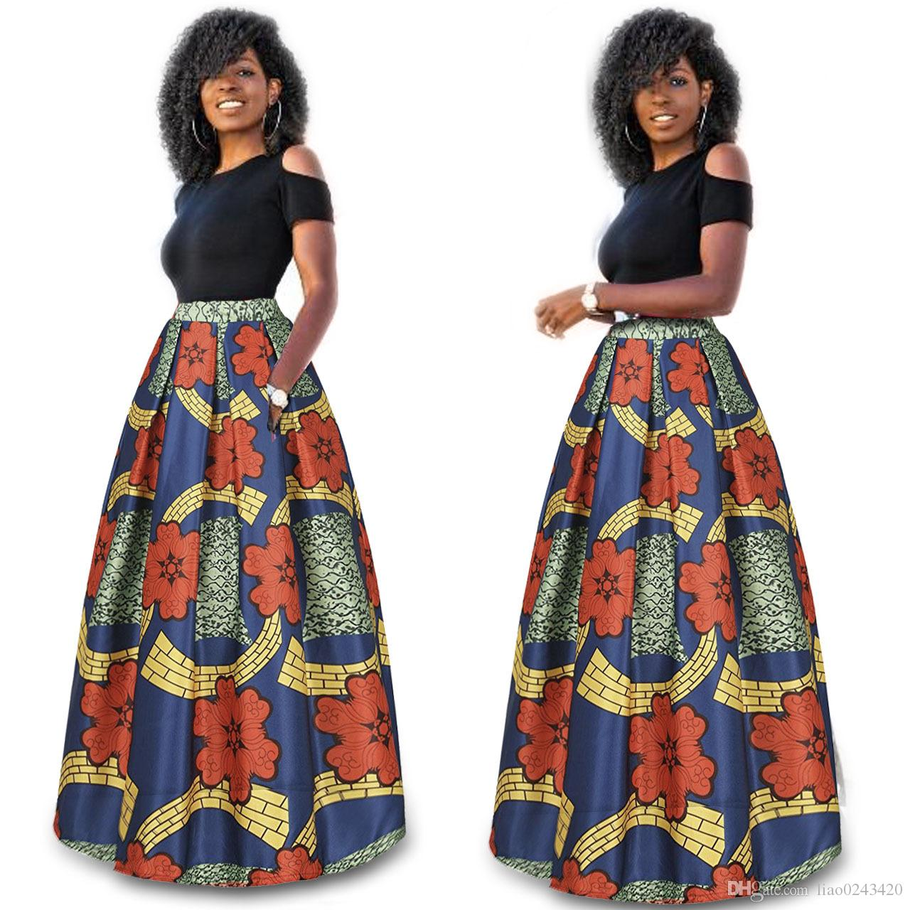 ab847f91f0ceae Navire Libre Femmes Mode Africaine Maxi Robe Taille Haute Longue Dashiki  Robe Casual Outfit 2 Pcs Costume 6XL Plus Taille
