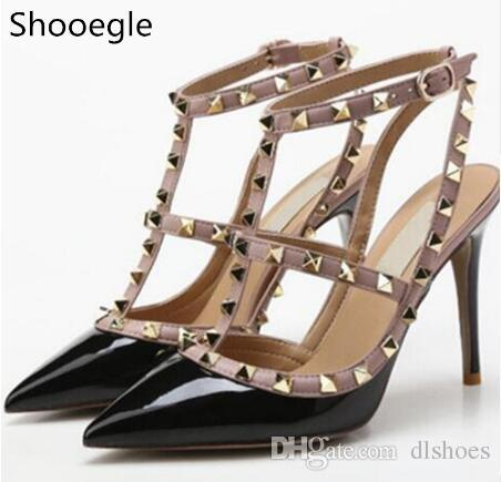 f588a90570ad4 Fashion Black Pink Red Nude Pumps Pointed Toe T Strap Stiletto Heels Shoes  Studded Rivets Women High Heels Party Dress Sandals Sperry Shoes Silver  Heels ...