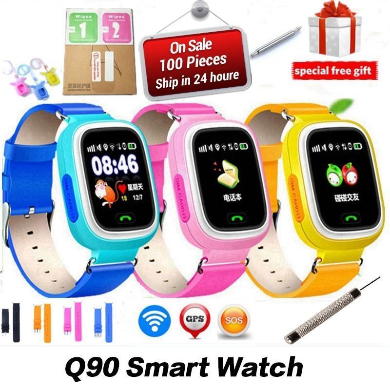066b344cbb6d Часы Умные Q90 GPS Детский Smart Watch Телефон Позиция Дети Kid WIFI SOS  1,22 Дюймовый Цветной Сенсорный Экран Smart Baby PK Q80 Q50 Q60 Smartwatch  Умные ...