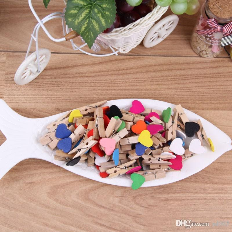 Lovely Heart Shape Memo Clips Colorful For Home Decoration Photo Clamp Practical Mini Wooden Clip Convenient 0 08hy dd