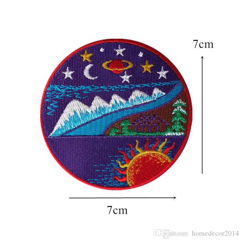 7CM Embroidery Patch Sew Iron On Mountain Night View Embroidered Patches Badges For Bag Jeans Hat T Shirt DIY Appliques Craft Decoration