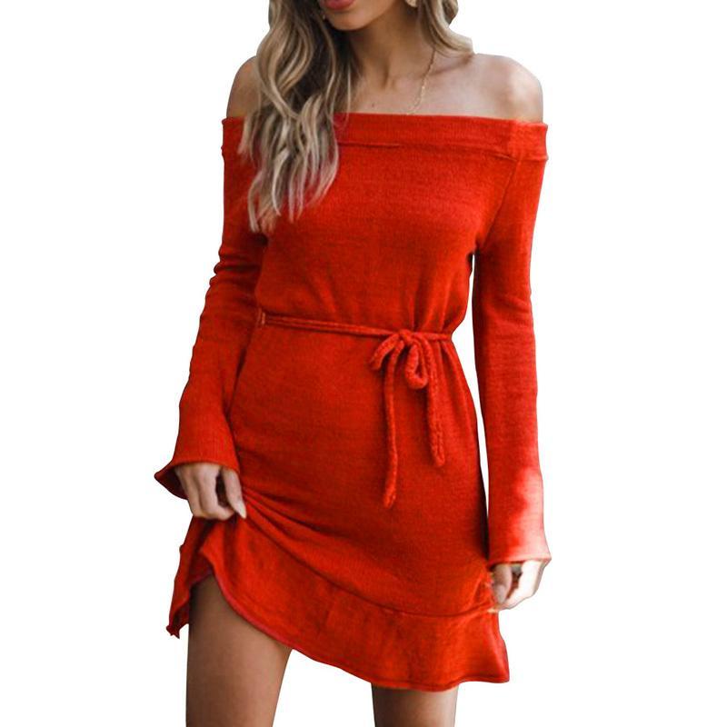 4f4b6b08b959 2018 Autumn Warm Sweater Dress Female Women Knitted Off Shoulder Dress  Slash Neck Long Sleeve Ruffles Hem Mini Casual Knit Dress Casual Party Dress  Grey ...