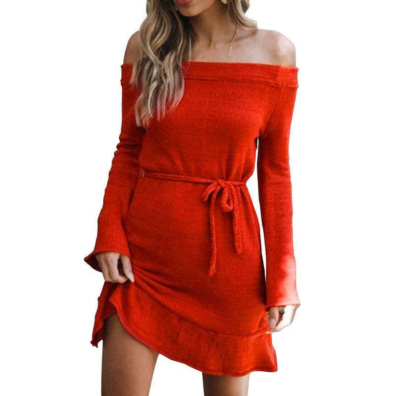 63fe6f95f26b61 2019 Autumn Warm Sweater Dress Female Women Knitted Off Shoulder Dress  Slash Neck Long Sleeve Ruffles Hem Mini Casual Knit Dress Black Dressed  Casual White ...