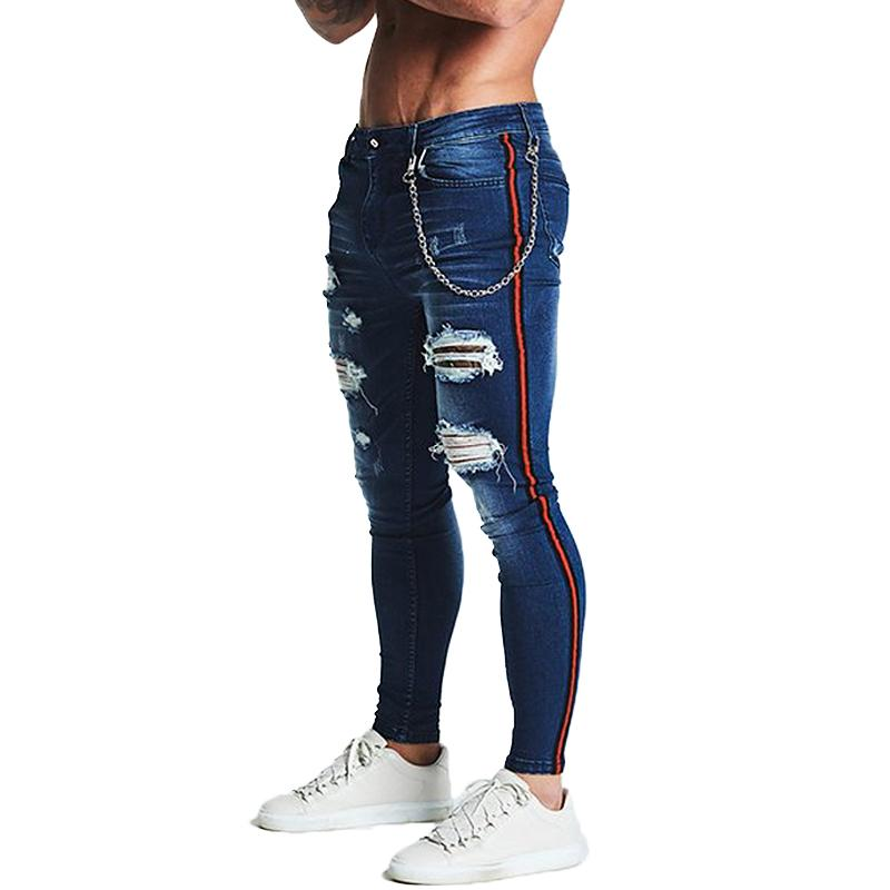 2cc960708fb2b7 2019 Gingtto Stripe Ripped Skinny Jeans For Men Classic Hip Hop Stretch  Jeans Elastic Pant Designer Brand Fashion Slim Fit With Chain From  Longan08, ...
