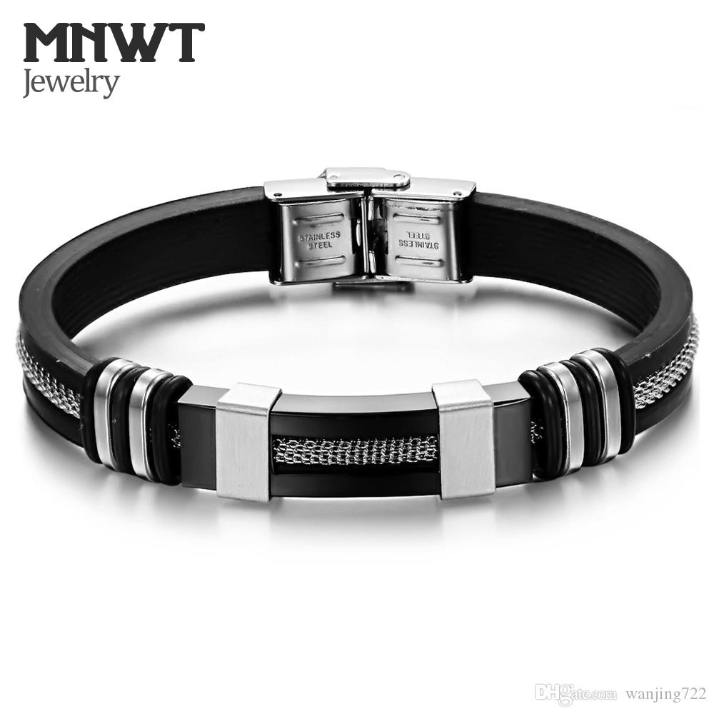 MNWT Mens Bracelets Stainless Steel Black Silicone Bracelets Charm Bracelet Male Bangle For Men Jewelry Silver & Rose Gold Color