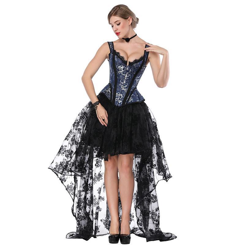 e9b9e597e Compre Azul Preto Steampunk Traje Mulheres Corpetes E Espartilho Sexy  Espartilho Dress Vitoriano Gótico Clothing Vestidos Burlesque Outfit De  Salom