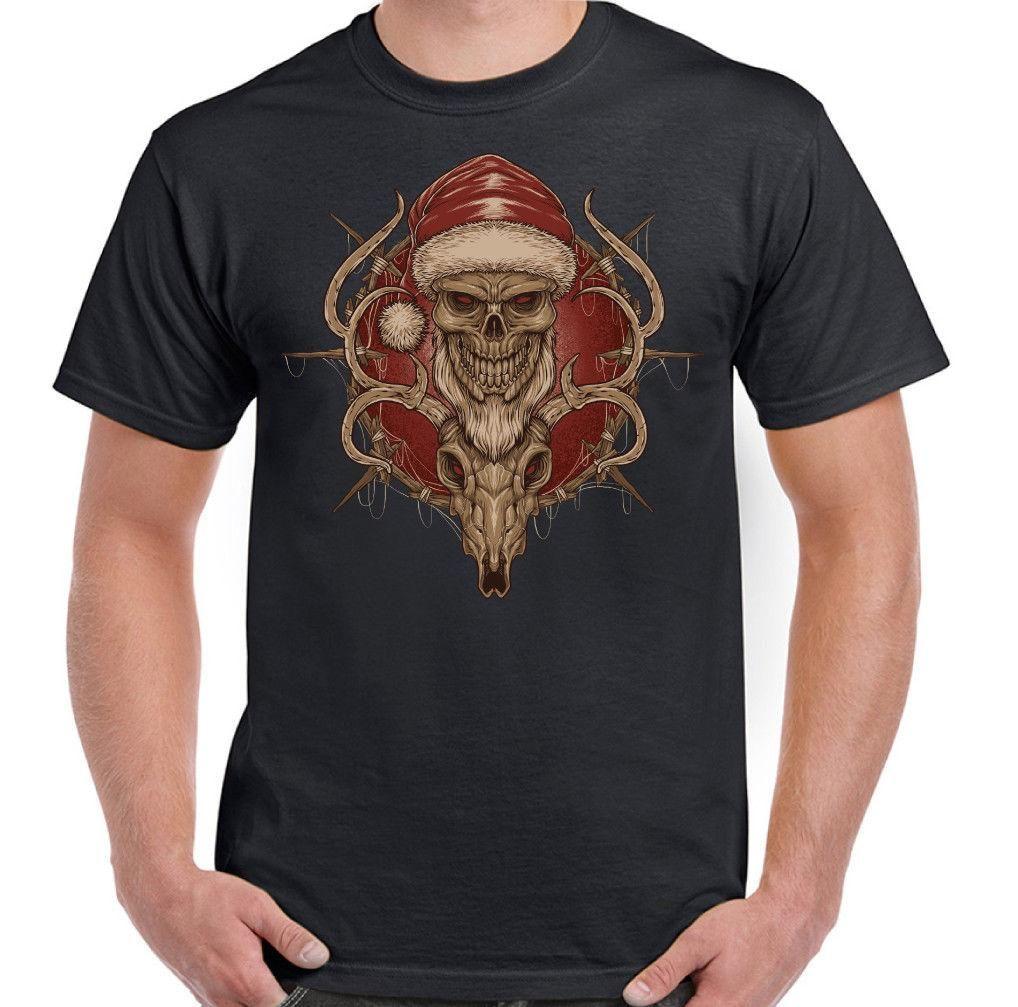Santa   Reindeer Skull Mens Xmas T Shirt Biker Gothic Motorbike Bike Secret  2018 Short Sleeve Cotton T Shirts Man Clothing Make Your Own T Shirts T  Shirt ... 9d8a61785