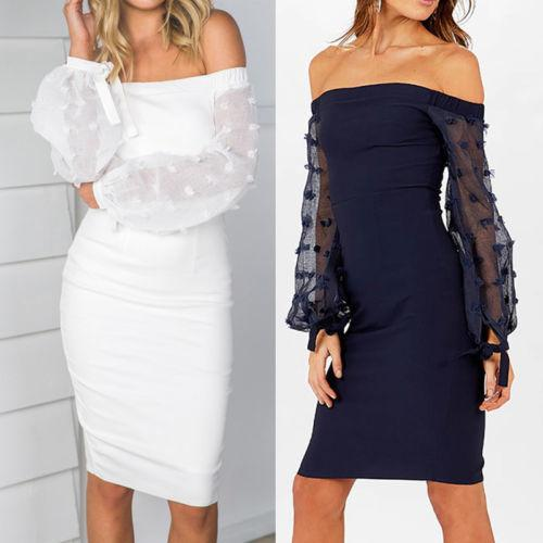6b91e0168e9 Sexy Women Bandage Bodycon Lace Long Sleeve Evening Party Short Mini Dress  Summer Backless White Blue Red Cocktail Dresses Black Evening Dress From ...