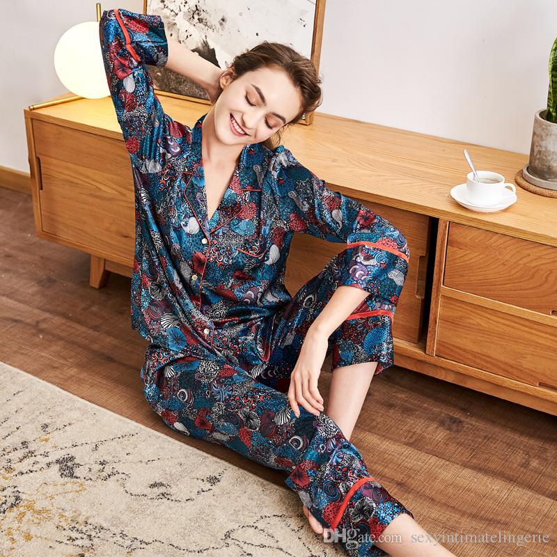 2019 Luxury Spring Long Sleeve Casual Pajama Set Top Pants Women Satin Silk  Sleepwear Lady Nightwear Print Pijama Feminino From Sexyintimatelingerie 0139627c1