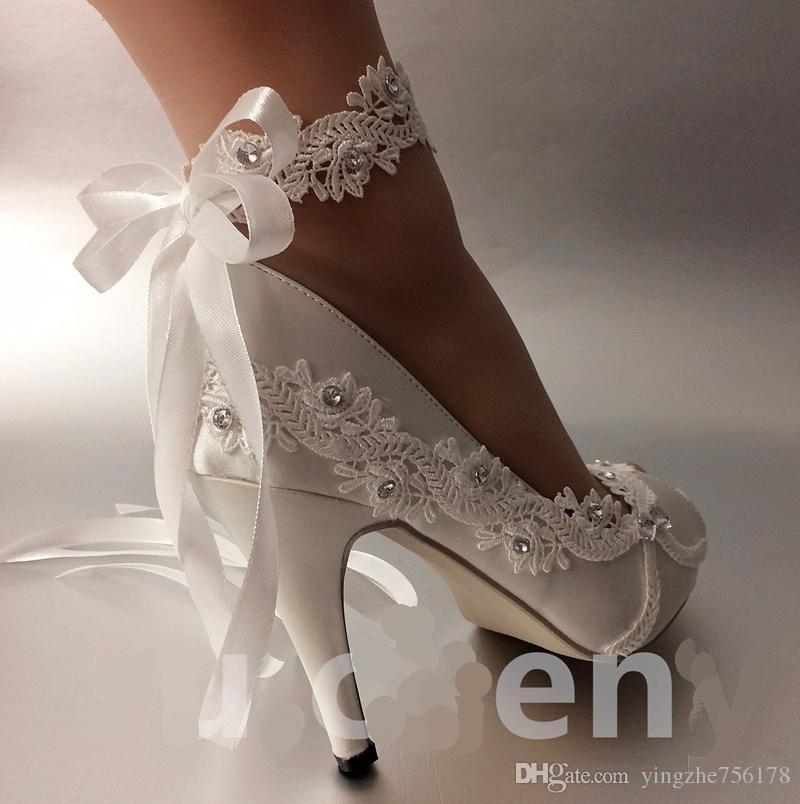 Scarpe da sposa donna Nastro in avorio abiti da sposa sposa Edizione Han diamante pizzo manuale da sposa Zeppa Peep Toe scarpa donna TAGLIA UE 35-42