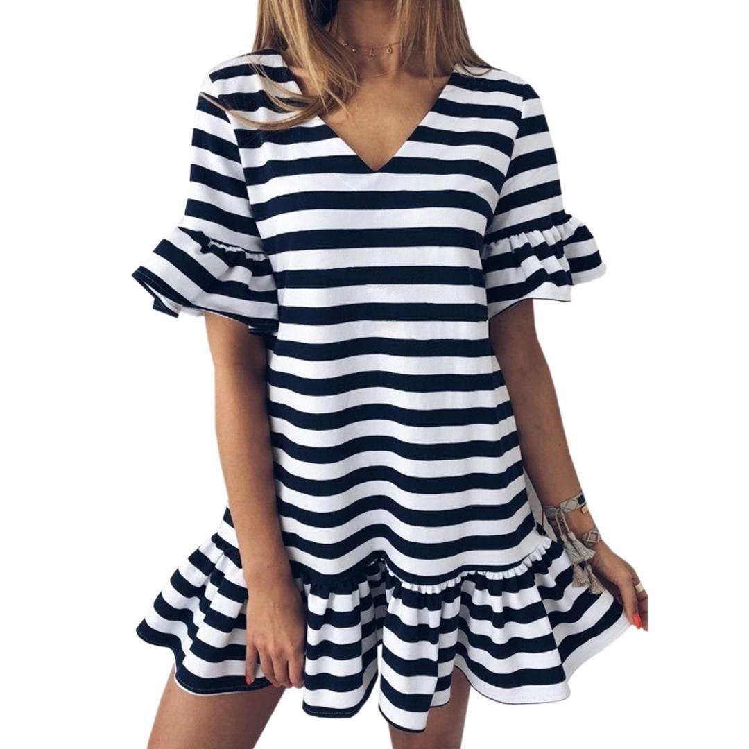 9953f52f34c9 Kawaii Ruffle Girl Striped Mini Dress Women Summer Flare Short Sleeve V  Neck Sweet Loose Casual Cute Red Dresses Plus Size GV036 Summer Dresses  Floral ...