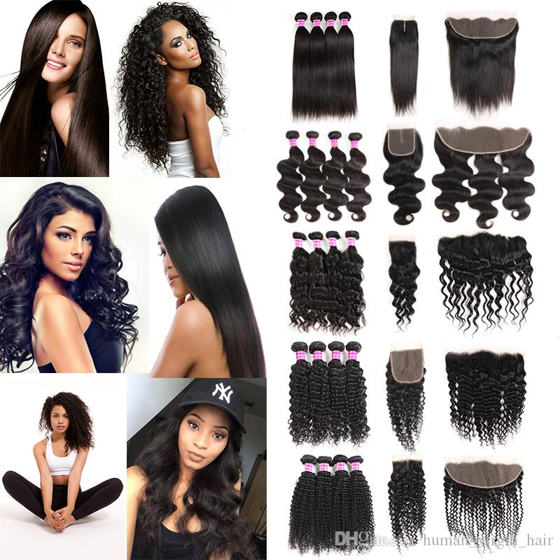 Brazilian Virgin Hair Vendors Straight Body Deep Water Wave Kinky Curly  Human Hair Weave Bundles With Frontal Closure Hair Extensions Wefts  Straight Human ... aed2c8284