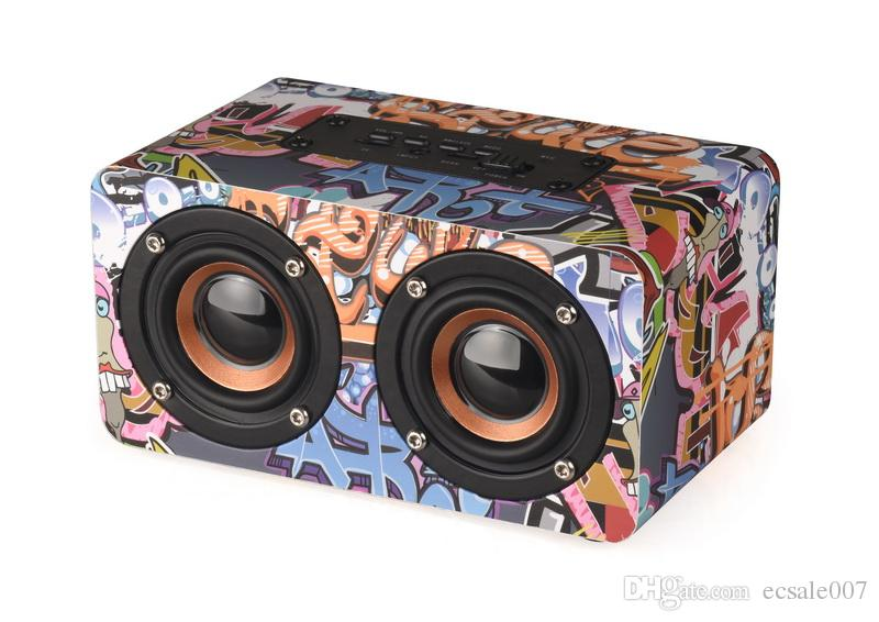 Bluetooth Speaker Wooden Portable Suitable Column Laptop Stereo Bass Sound HIFI Speaker Support TF Card AUX FM Radio