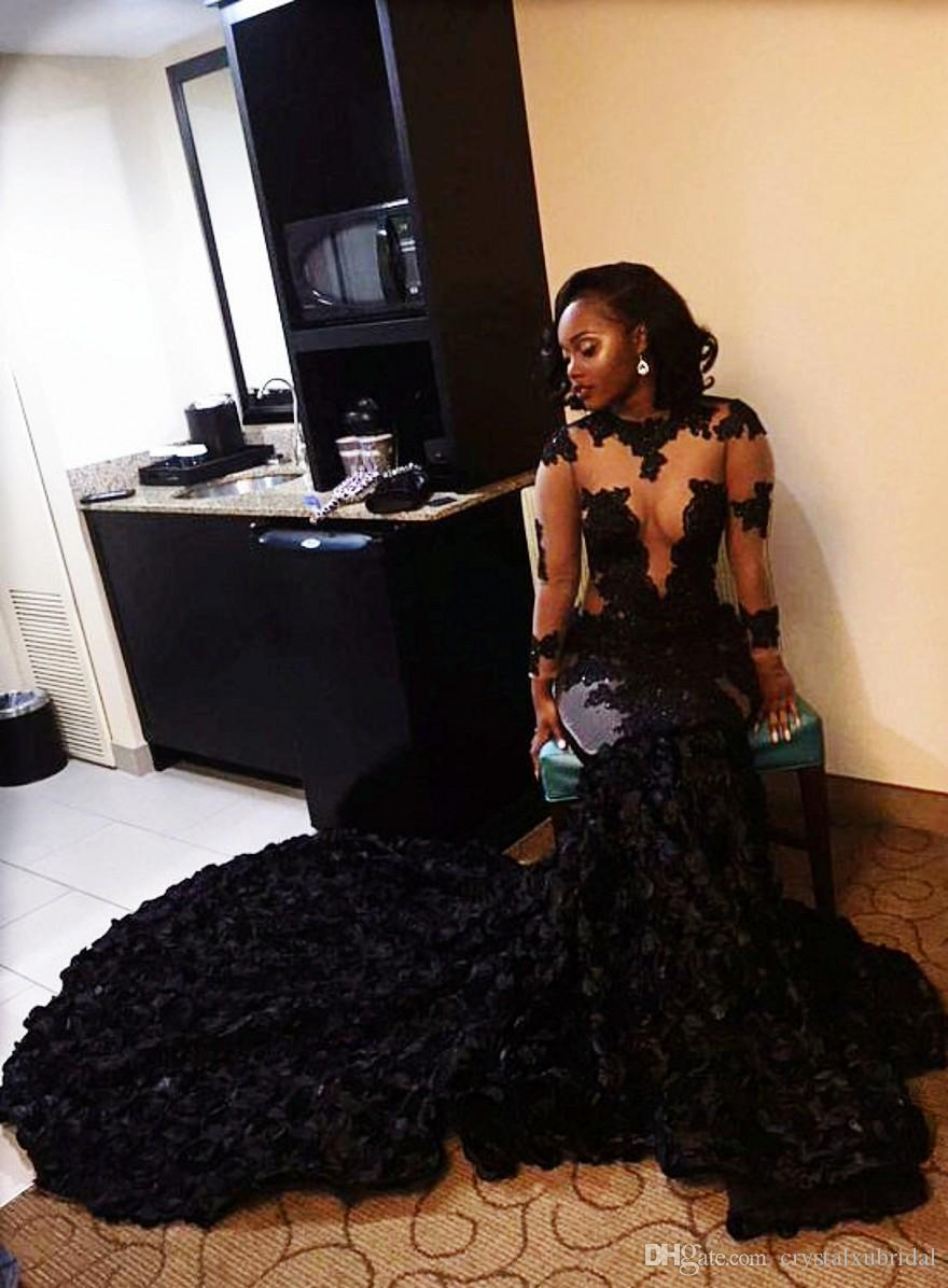 2018 Sexy sirena negra Vestidos de baile Cuello de joya Mangas largas 3D Flores de encaje Ilusión Capilla Tren Ojo de la cerradura Vestido de fiesta Vestidos de noche