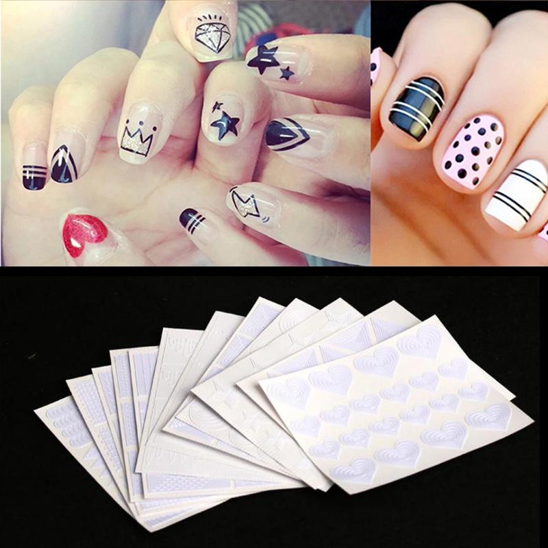12sheetNail Art Stickers Guide Tips Hollow Stencils Sticker French Manicure Template 3D Vinyls Decals Form Styling Tools Nail Decal From