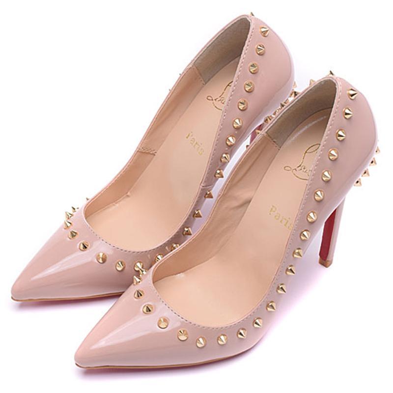 purchase cheap 00969 d61cf Fashion Luxury Brand Red Bottom High Heels Nieten Lackleder Stöckelschuhe  High Heels Kleid Schuhe Abendschuhe 12 cm Größe 35-41