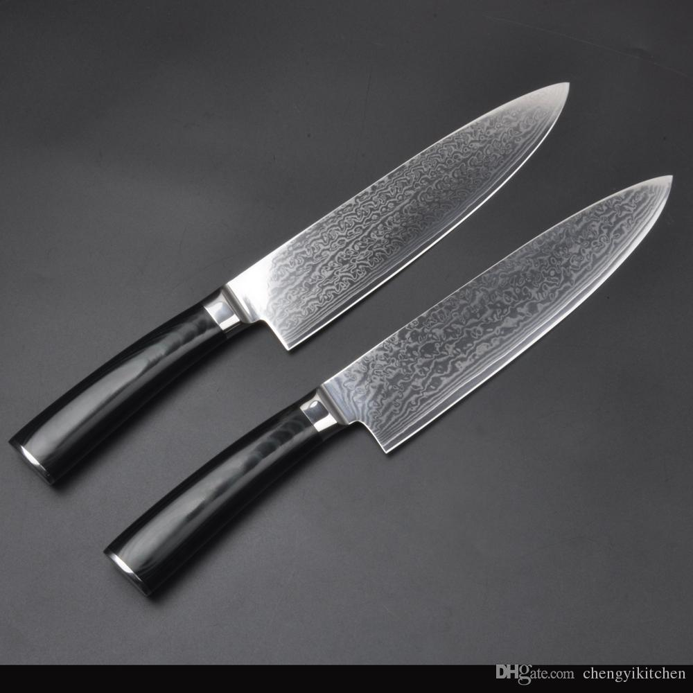 Wholesale 67layers vg10 damascus steel chef 8 inch damascus kitchen knives damascus knife vg10 japanese steel chef knife micarta handle kitchen knives set