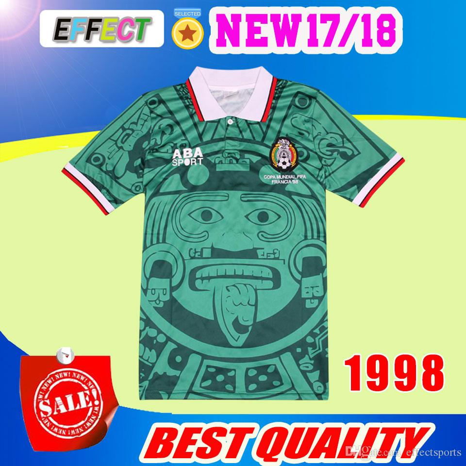 7bb574edff2 Compre Tailândia Qualidade Retro 1998 México World Cup Clássico Do Vintage  De Futebol Jersey HERNANDEZ BLANCO Casa Verde De Effectsports