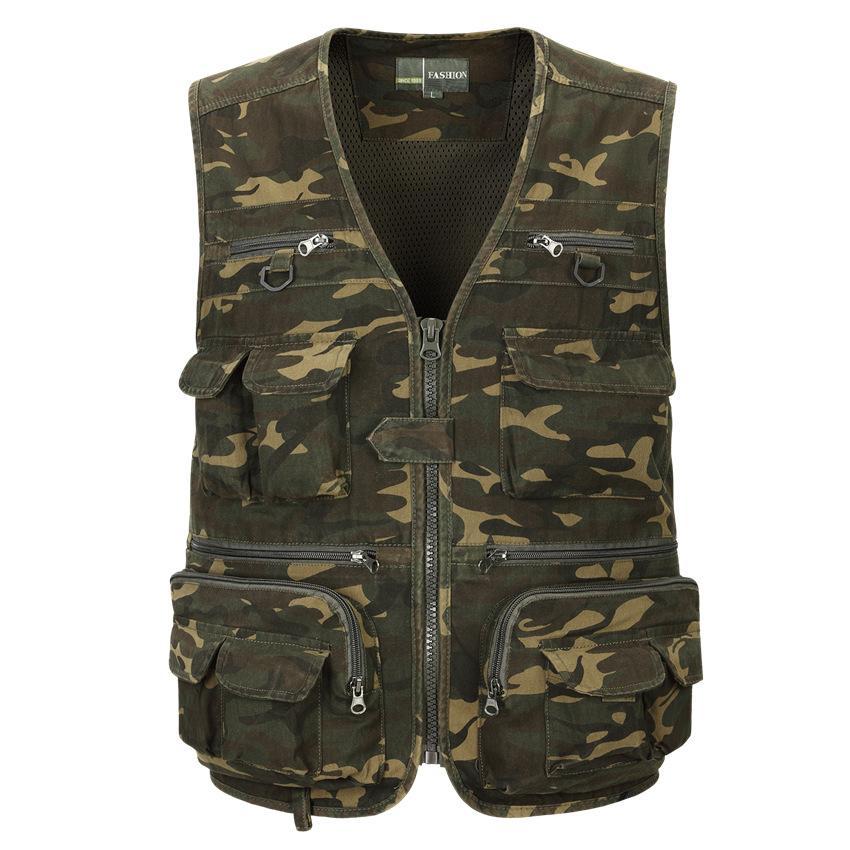 55e43b09f5 Gilet uomo senza maniche di scarico moda gilet senza maniche stile giacca  casual gilet mimetico tasca tascabile