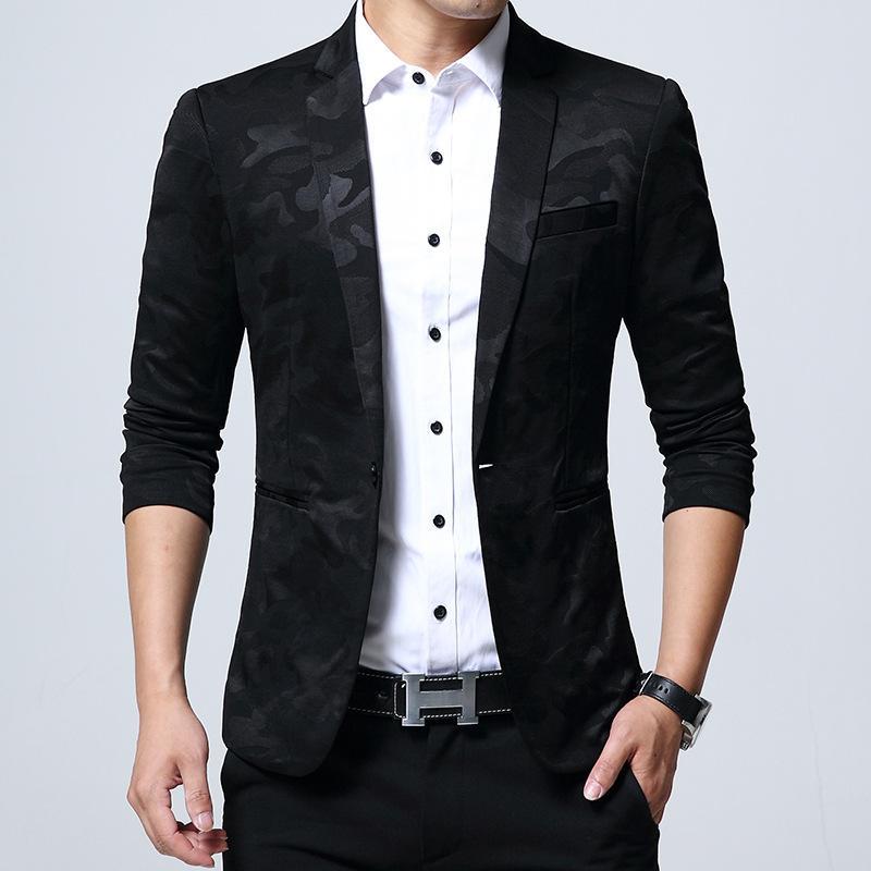 Compre Hombres Blazer Camuflaje Impreso Moda Otoño Alto Grado Slim Fit Mens  Un Botón Blazer Chaqueta Traje Casual Inteligente Más Tamaño 5XL A  54.02  Del ... 51e2ad78c00