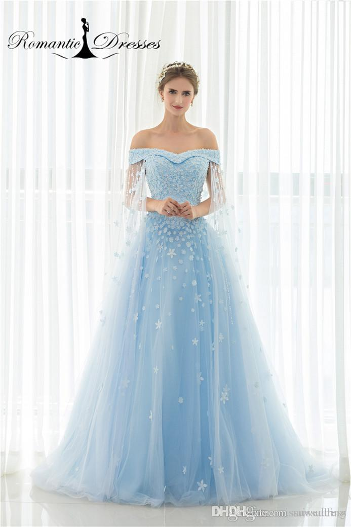 Discount Romantic Dresses Blue Wedding Dresses Long Capes Appliques ...