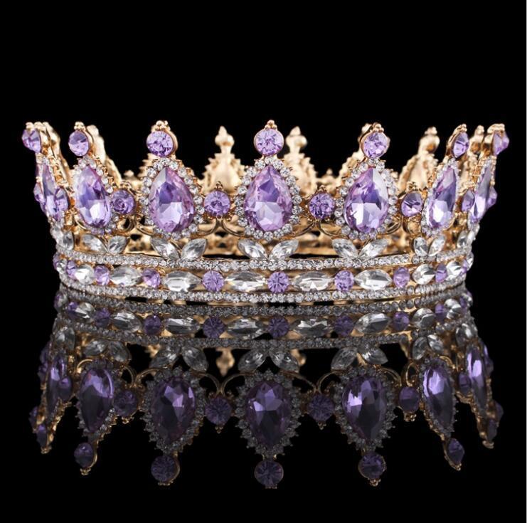 멋진 웨딩 신부 크라운 선발 대회 전체 원 티아라 명확한 오스트리아 모조 다이아몬드 왕 여왕 크라운 의상 파티 아트 데코