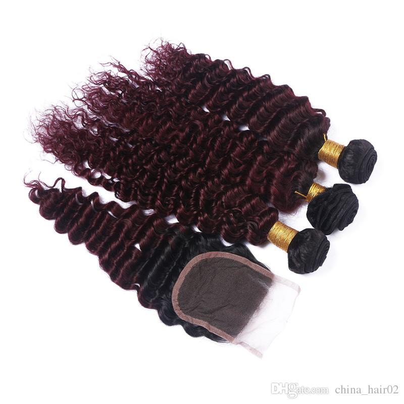 Fasci di tessuto dei capelli umani della Borgogna di Ombre con chiusura in pizzo 4x4 Onda profonda 1B / 99J Vino Ombre rosso Capelli malesi della vergine 3 Bundle con chiusura