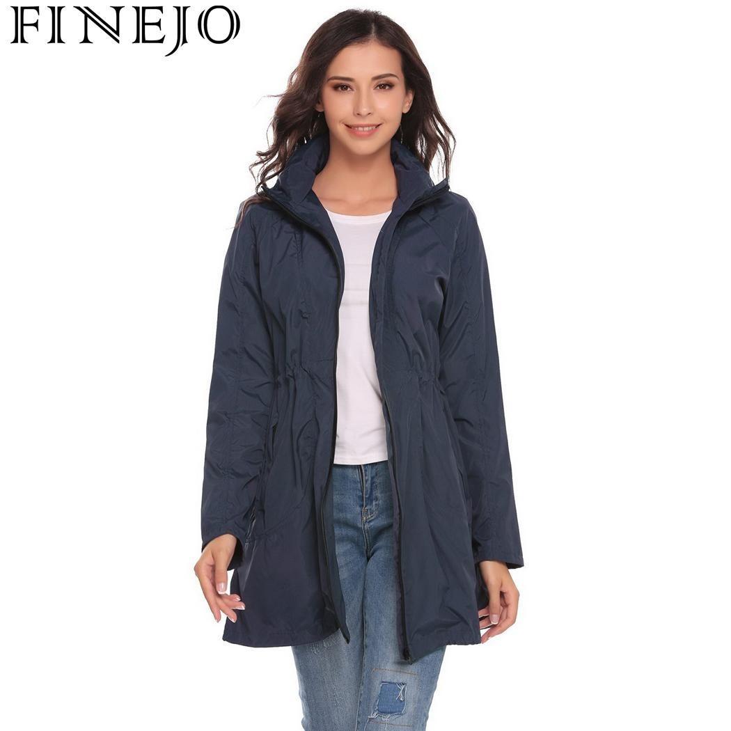 981228747b FINEJO Autumn Women Trench Coats 2017 Casual Lightweight Travel Waterproof  Raincoat Hooded Drawstring Hem Trench Outerwear Coats Y1891708