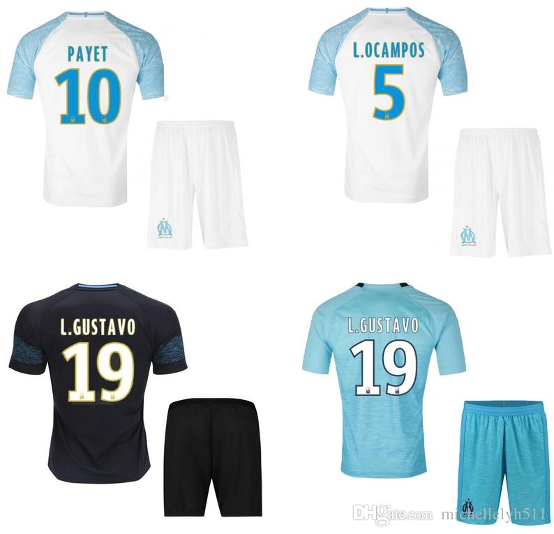 91580400b Compre 18 19 Kit De Futebol De Marselha Terceiro Conjunto De Futebol Azul  2018 19 L. GUSTAVO PAYET THAUVIN Sooccer Jersey Shorts OM Mens Thai  Qualidade ...