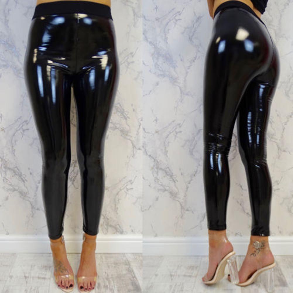 1b67d783e0 Compre Nuevo Estilo Moda Mujer Sexy Cintura Alta Pantalones Negros Delgados  Estiramiento Suave Brillante Aspecto Mojado Faux Leather Leggings Pantalones  ...