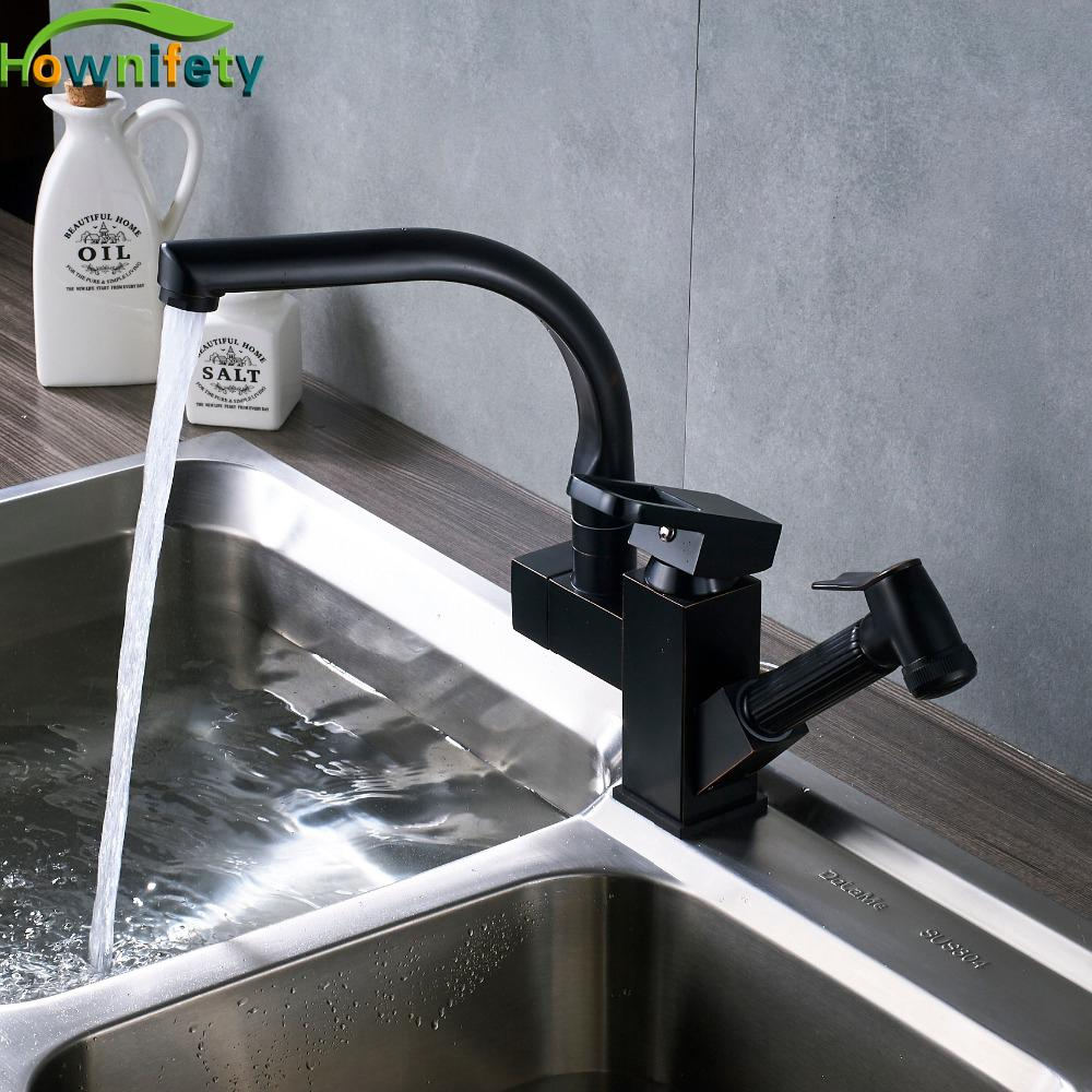2018 Solid Brass Square Style Kitchen Sink Faucet 360 Degree Swivel ...