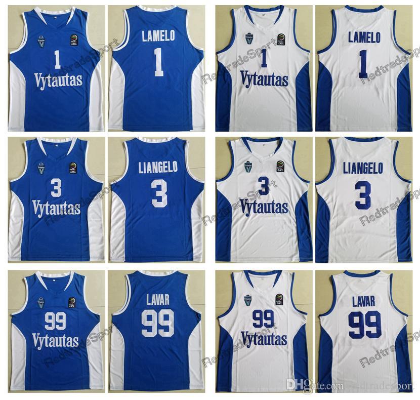 e90aecbf025 2019 Mens LaMelo Ball  1 LiAngelo Ball  3 Lavar Ball  99 Lithuania Vytautas  Basketball Jersey Blue White Stitched Shirts S XXL From Redtradesport