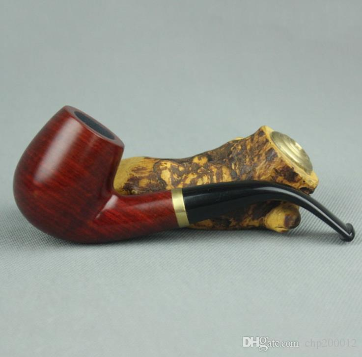 Red sandalwood pipe 9mm filter core bending hammer detachable solid wood pipe