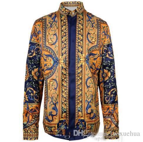 HOT New Fashion Flower Wave Print Long Sleeve Men's Shirt Cotton Slim Men's Shirt Medusa Retro Shirt